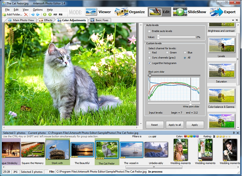 Advanced photo editor, batch converter and slideshow viewer