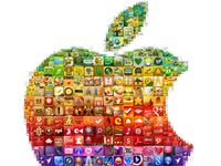 Коллаж одного из логотипов компании Apple, созданный из иконок приложений AppStore