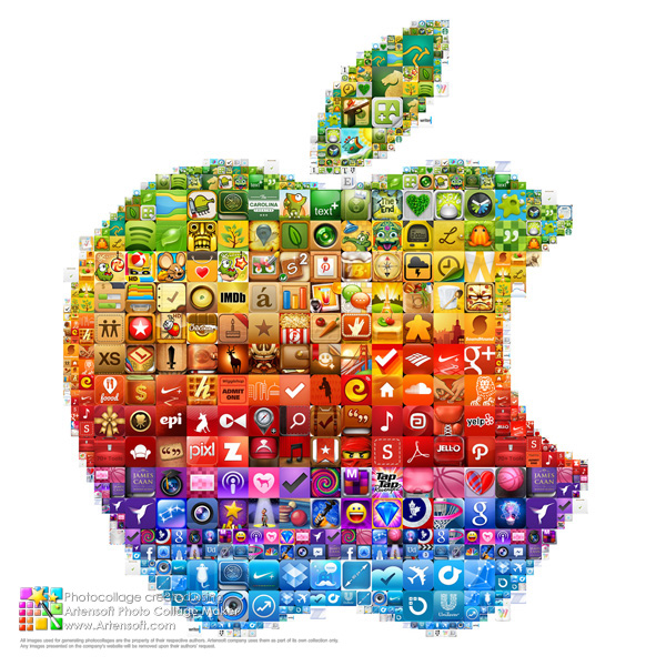 Mosaikcollage aus Symbolen und Logos des Programms AppStore (Demonstration der Programmfunktionen).