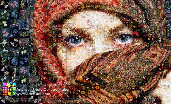 Porträt eines Mädchens aus vielen Mini-Blumenbildern (eine hervorragende Geschenkidee für Ihre Liebsten).