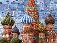 """Collage der """"Basilius-Kathedrale"""" aus Fotos weltberühmter Sehenswürdigkeiten."""