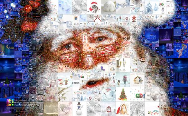 """Коллаж """"Дед мороз"""" из ёлочных украшений, подарков и других картинок новогодней тематики"""