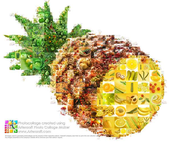 """Leuchtende und satte Collage """"Obst- und Gemüse"""" in Form einer Ananas."""