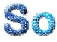 Collage Social Media, bestehend aus den Schaltflächen sozialer Netzwerke.