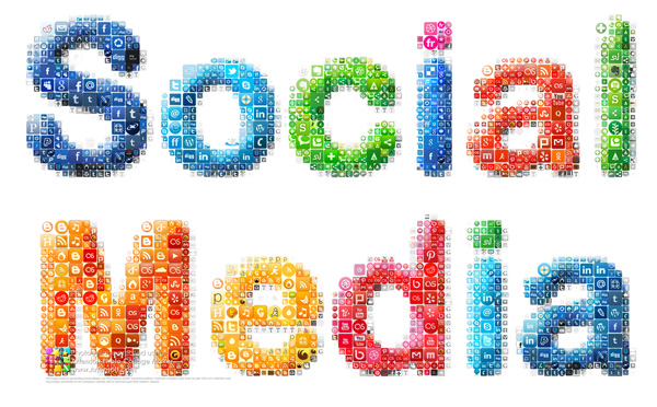 "Collage ""Social Media"" composed of social buttons"