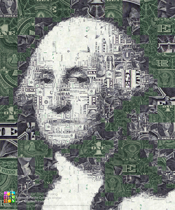 Portrait of the first U.S. President George Washington composed of one dollar bill fragments