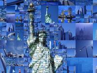 """Достопримечательности всего мира в фотоколлаже """"Статуя Свободы"""""""