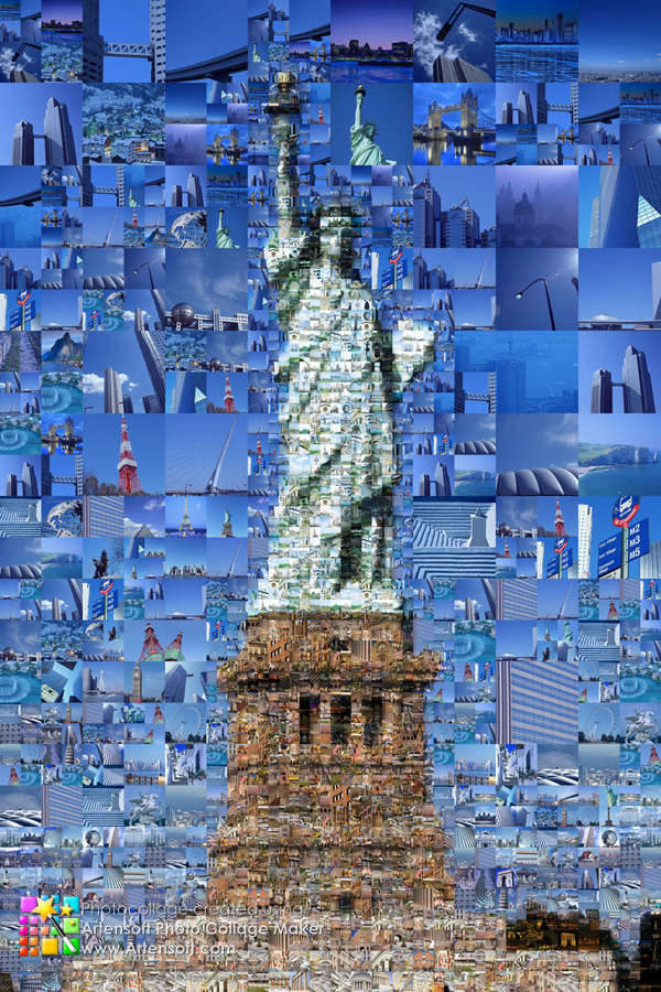 "Attractions around the world in the photo collage ""Statue of Liberty"""