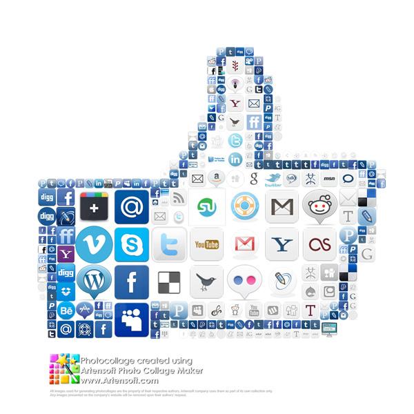 """Collage """"Mag ich"""" aus vielen Symbolen der sozialen Netzwerke zum Thema Facebook"""