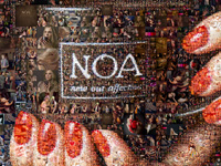 Collage als Friseursalon und Schönheitssalon gestaltet, an der Wand hängende und auf einer Leinwand gedruckte Collage.