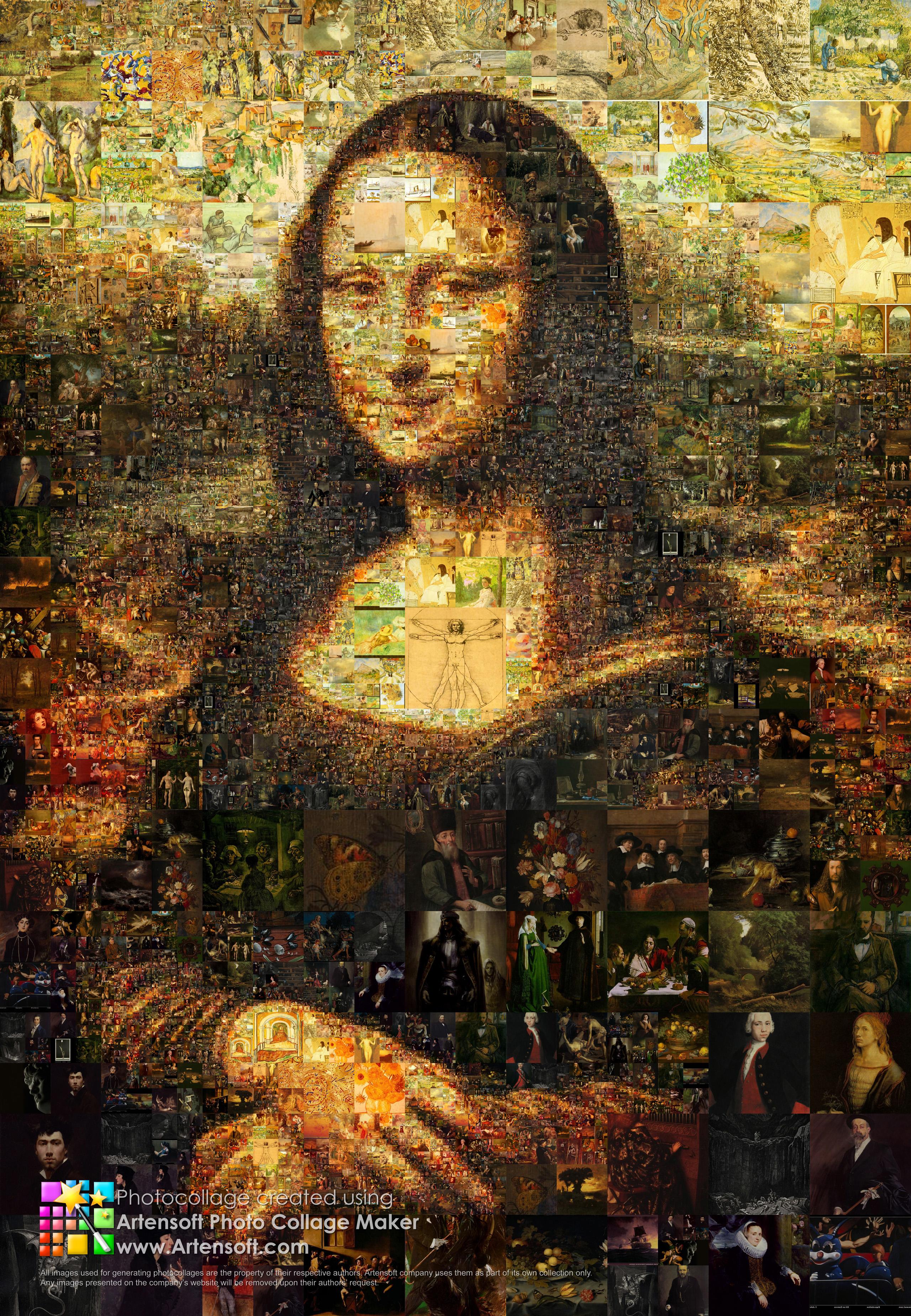 Portrat Der Mona Lisa Aus Vielen Mini Gemalden Beschreibung Programmparameter Fur Das Erstellen Detailansicht Video Auflosung Beim Speichern