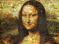 Porträt der Mona Lisa aus vielen Mini-Gemälden.