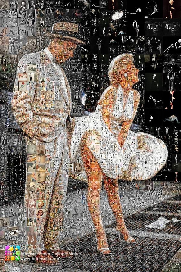 Коллаж прекрасной и неповторимой Мерлин Монро, состоящий из множества ее фотографий