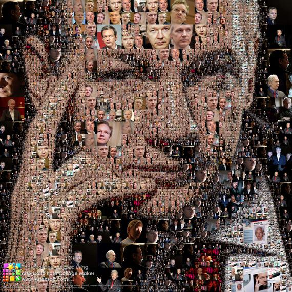 Фотоколлаж лица (Джулиан Ассандж