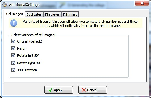 Cell images options