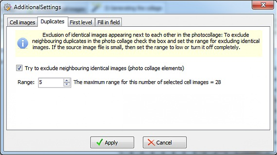 Selecting of duplicates radius of photo collage