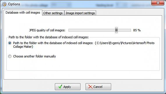 Photo collage database options