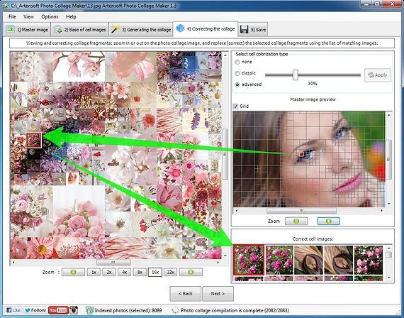 The details of the mosaic photo collage. You can select better cell-images