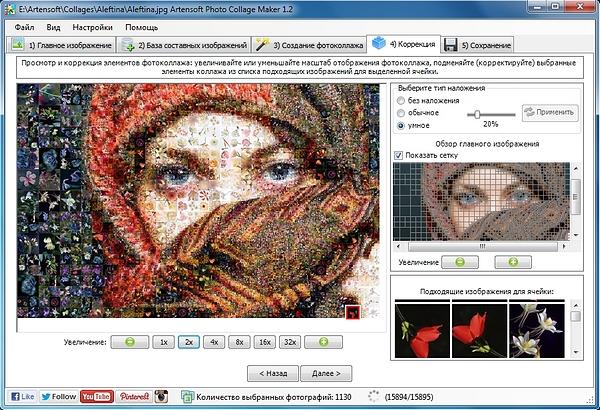 Пример коллажа, сделанного из фотографий цветов в Photo Collage Maker