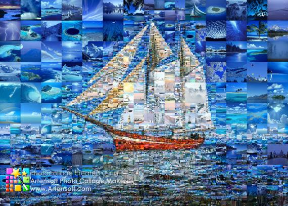 Пример коллажа, сделанного в Artensoft Photo Collage Maker из морских фотографий